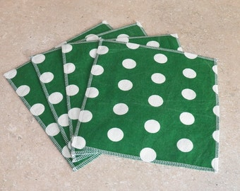 Cloth Wipes- Green & White Dots- Set of 5- 15040