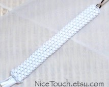 SUMMER SALE!!! Free Shipping or Save 20% ~ Stormtrooper white straight gimp woven keychain ~ Made to Order