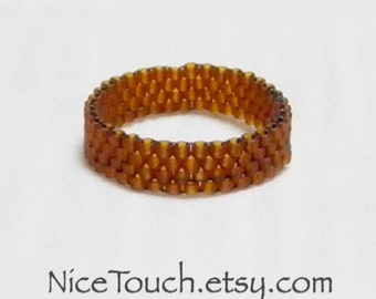 SUMMER SALE!!! Free Shipping or Save 20% ~ Chocolate Brown woven delica beaded ring ~ Made to Order