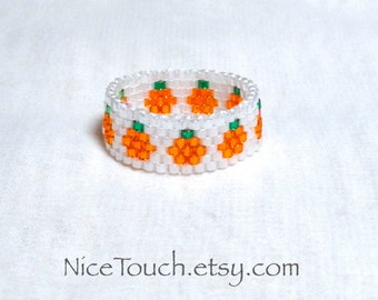 SUMMER SALE!!! Free Shipping or Save 20% ~ Tiny Pumpkins peyote Halloween beaded ring ~ Made to Order