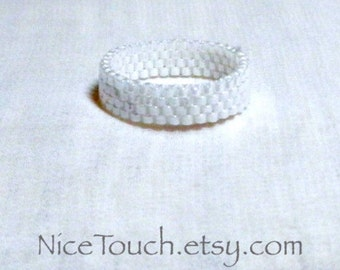 SUMMER SALE!!! Free Shipping or Save 20% ~ Purely White bead woven glass peyote ring ~ Made to Order