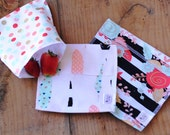 Reusable Ecofriendly Sandwich Bag and Snack Bags - Floral and Feathers - set of 3