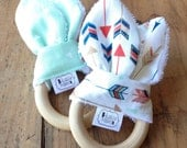 Bunny Biter - Natural Maple Teether with removable fabric ears - arrows and mint triangles - Set of 2