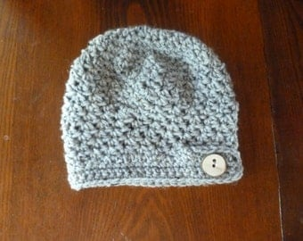 Crochet Baby Toddler Grey Hat Beanie with wood slice button