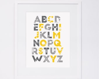 Alphabet Print | Yellow and Grey Silhouette