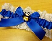 blue Penguin Wedding Garter SINGLE or SET , beautiful  royal electric blue and white garter horizon