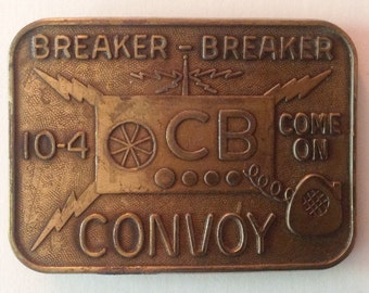 Vintage Cast Metal Belt Buckle C B Convoy Breaker Breaker 10-4 Vintage Fashion Accessories