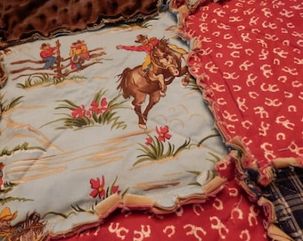 Queen Size Western Rag Quilt Country Cowboy or Cowgirl, Horse Bedding, Ranch Quilt, Handmade in NJ