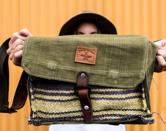 Antique British Haversack Shoulder Bag with Salvaged Mexican Serape
