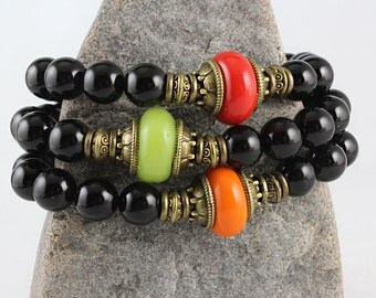 Black Onyx Stretch Bracelet, Choice of Focal Bead, Coral Red, Pumpkin Orange, Lime Green, Mala Bracelet, Yoga Style Jewelry