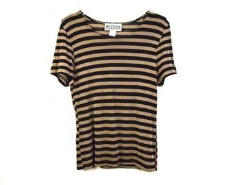 90's Tan & Black Striped Top size - S/M