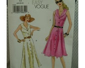 Flared Dress Pattern, Button Front, Sleeveless, Cut-in Shoulders, Shaped Collar, V-neck, Belted, Vogue No. 8063 UNCUT Size 6 8 10 12