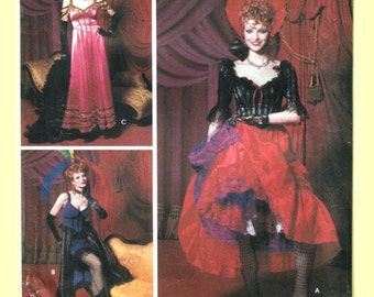 Burlesque Saloon Girl Costume Pattern, Moulin Rouge, French Can Can Girl, 3 Dresses, Headdress - Simplicity 9899 0622 UNCUT Size 6 8 10 12