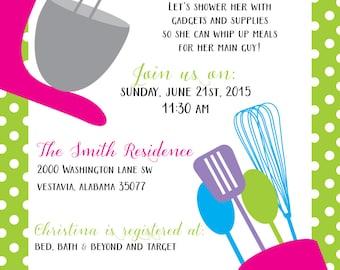 Kitchen Wedding Shower Invitation; Custom Wedding Shower invitation; Matching recipe card available