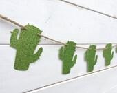 CACTUS paper banner, glitter green cactus banner, western banner, southwest decor, desert banner, green, western decoration, party banner