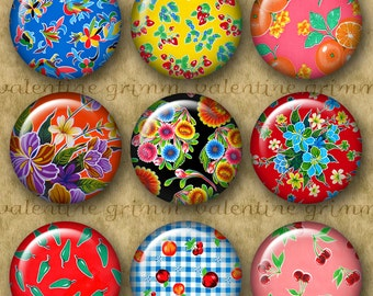 1 inch MEXICAN OILCLOTH ART Digital Printable Circles collage sheet for Jewelry Magnets Crafts...colorful fruits flowers