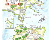 Wedding Map, Watercolor Map, Hand drawn Map