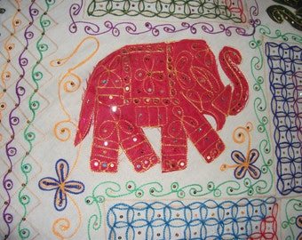 """Indian Hand made Bed cover(90""""X82"""") Queen Size with all body Applique Designs and Hand Embroidery-Elephant/ floral, all over the body!-SALE"""