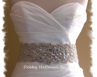 Rhinestone Crystal Wedding Belt, Jeweled Wedding Dress Sash, Wide Statement Bridal Belt, Rhinestone Encrusted Bridal Sash, No 1126S4-18-3070