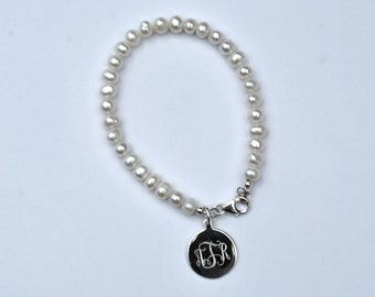 Monogram Pearl Bracelet with Sterling Silver Charm - Bridesmaid Present
