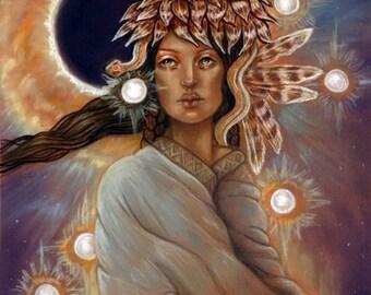 Allanque Star goddess Native American Pagan ORIGINAL Soft pastel