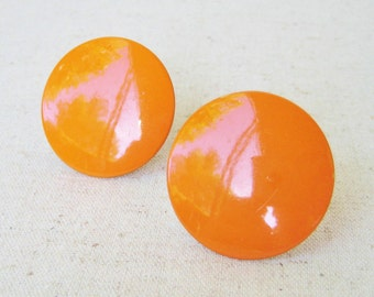 Bright Orange Vintage Clip On Earrings