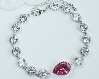 Hot Pink Fuchsia Bracelet, Fuchsia Swarovski Teardrop and Cubic Zirconia Bracelet, Prom, Bridesmaids Bracelet, Hot Pink Fuchsia Jewelry