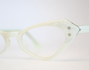 Small White vintage cat eye glasses cat eye frames New Old Stock