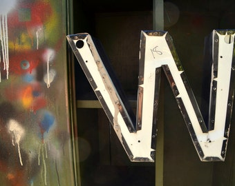 Vintage Marquee Sign Letter Capital 'M' / 'W': Large Black & White Metal Wall Hanging Initial - Industrial Neon Channel Advertising Salvage