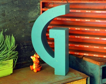 Vintage Marquee Sign Letter Capital 'G': Large Metal Teal Wall Hanging Initial, Broadway Font -- Neon Channel Industrial Advertising Salvage
