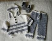 Cloud Gray 3 Piece Boys Hoodie Sweater Set