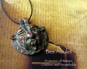 Bes Amulet -  Amulet of Protection - Guardian of Mothers and Children - Patron of Music and Dance - Handcrafted Pendant with Bronze Patina