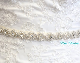 Bridal Rhinestone Sash | Beaded Crystal Sash | Couture Brides Belt, SB-06