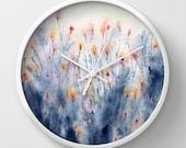 Wildflowers Wall Clock - Kitchen Clock Modern Decor Wall Clock - Floral Painting