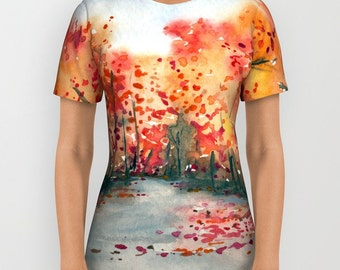 Designer Clothing - Landscape Painting - Artistic All Over Printed T Shirt