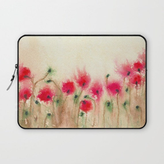 Floral Macbook Pro Laptop Case - Artistic Printed Fabric Laptop Sleeve - Poppies Painting