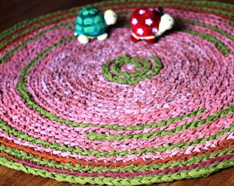 Shades of Rust Ombre with a Hint of Olive Green Multicolored Round Rag Rug 40 inches Made to order