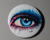 2.25 inch Pin Back Button - Eye - Colorful Blue and Pink Punk Rock Edgy Eye Art Pin