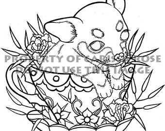 Digital Download Print Your Own Coloring Book Outline Page - Tea Cup Pup by Carissa Rose - Cute Chihuahua Dog Puppy in Teacup Illustration