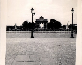 Vintage Photo, Arc de Triomphe du Carrousel, Paris France, Black & White Photo, Travel Photo, Old Photo, Minimal Photo, Snapshot