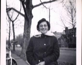 Vintage Photo, Woman in Winter Coat, Large Tree,  Black & White Photo, Old Photo, Found Photo, Snapshot, Vernacular Photo, AUGUSTINE0546