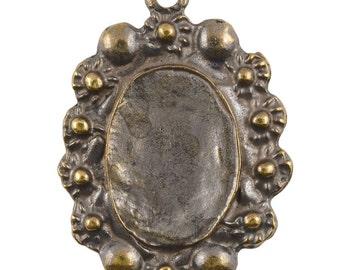 Castings-25x34mm Floral Bezel-Antique Bronze-Quantity 1