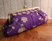 Indian wedding, sari clutch, violet clutch purse, gold and purple clutch, exotic
