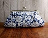 Dark blue floral clutch purse in silver frame, navy blue clutch, blue and white