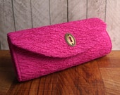 Clearance. Bright pink clutch purse, Fuchsia clutch bag with brass keyhole, hot pink clutch