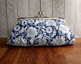 Dark blue floral clutch purse in silver frame, navy blue clutch, blue and white