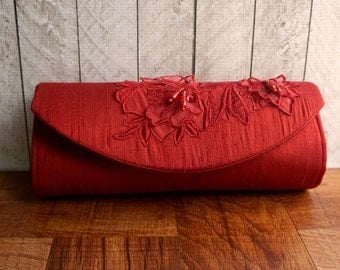Bright red clutch bag, scarlet red clutch, silk clutch purse with beaded lace applique