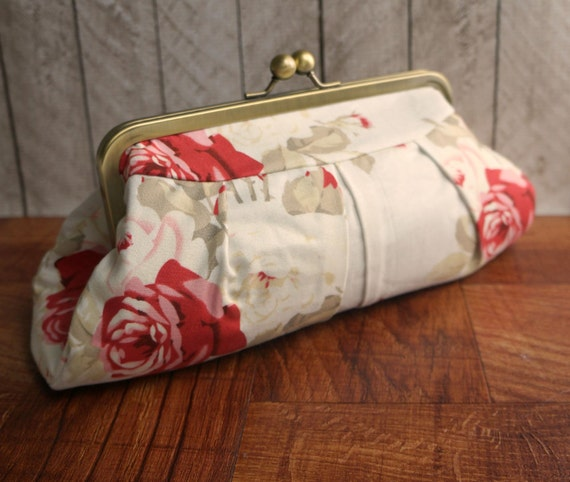 Clearance. Floral clutch, wedding clutch, bridal bag, ivory clutch purse with red roses, rose clutch, framed clutch purse
