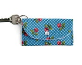 Blue Keychain Wallet and  Card Holder with Red Garden Roses, Student ID Holder, Key Chain Cardholder, Dorm Key Holder Wallet