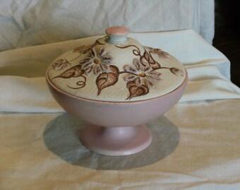 Vintage Pink Covered Pedestal Dish